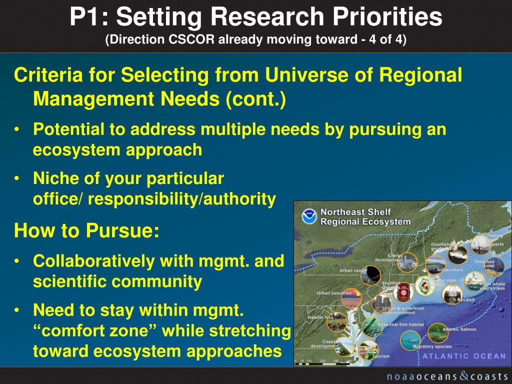 P1: Setting Research Priorities