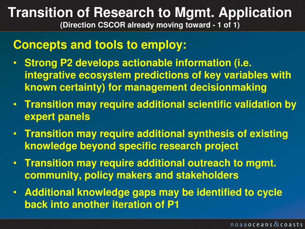 Transition of Research to Mgmt. Application
