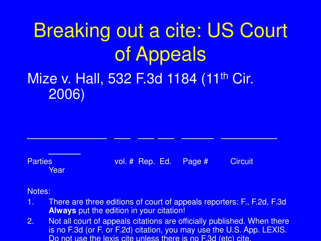 Breaking out a cite: US Court of Appeals