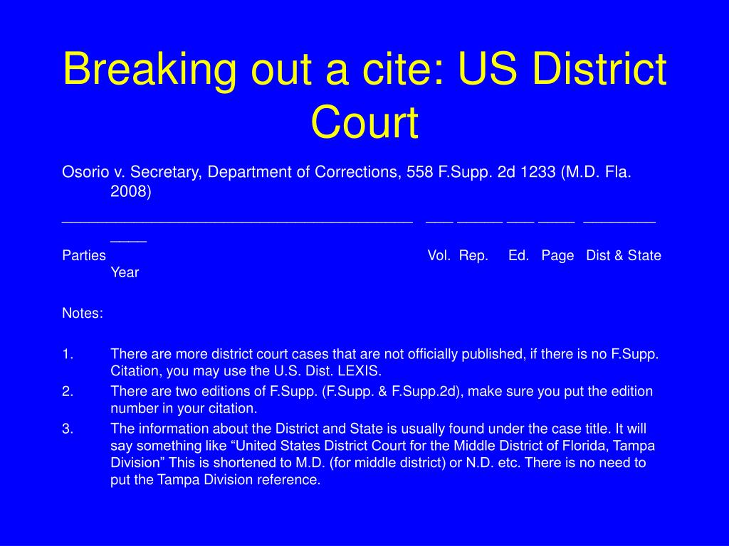 Breaking out a cite: US District Court
