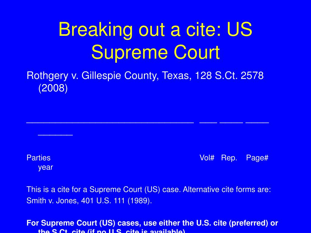 Breaking out a cite: US Supreme Court