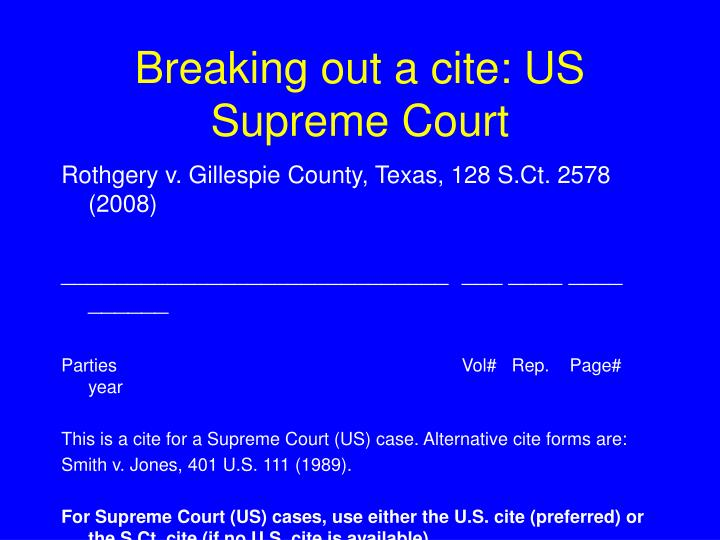 Breaking out a cite us supreme court