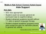 middle high school common autism issues aide support58