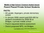 middle high school common autism issues parent placed private school students