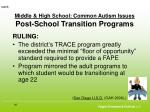middle high school common autism issues post school transition programs60