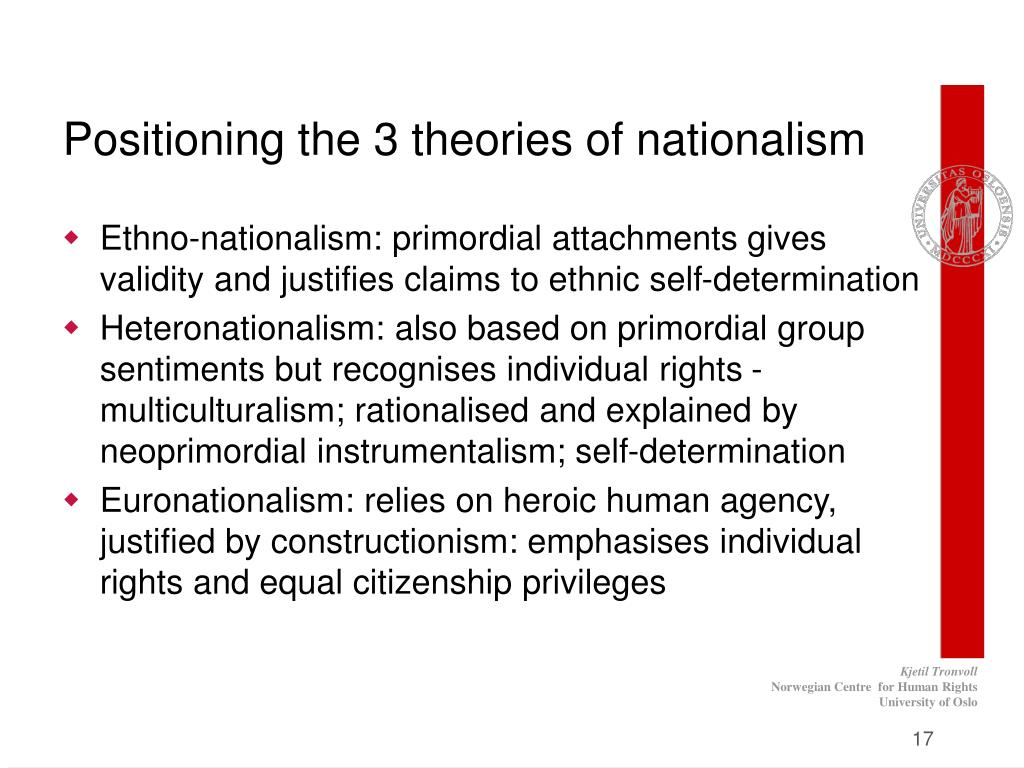 Positioning the 3 theories of nationalism