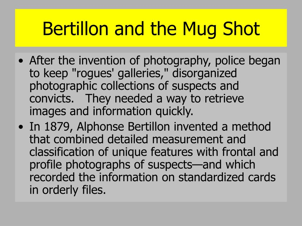 Bertillon and the Mug Shot