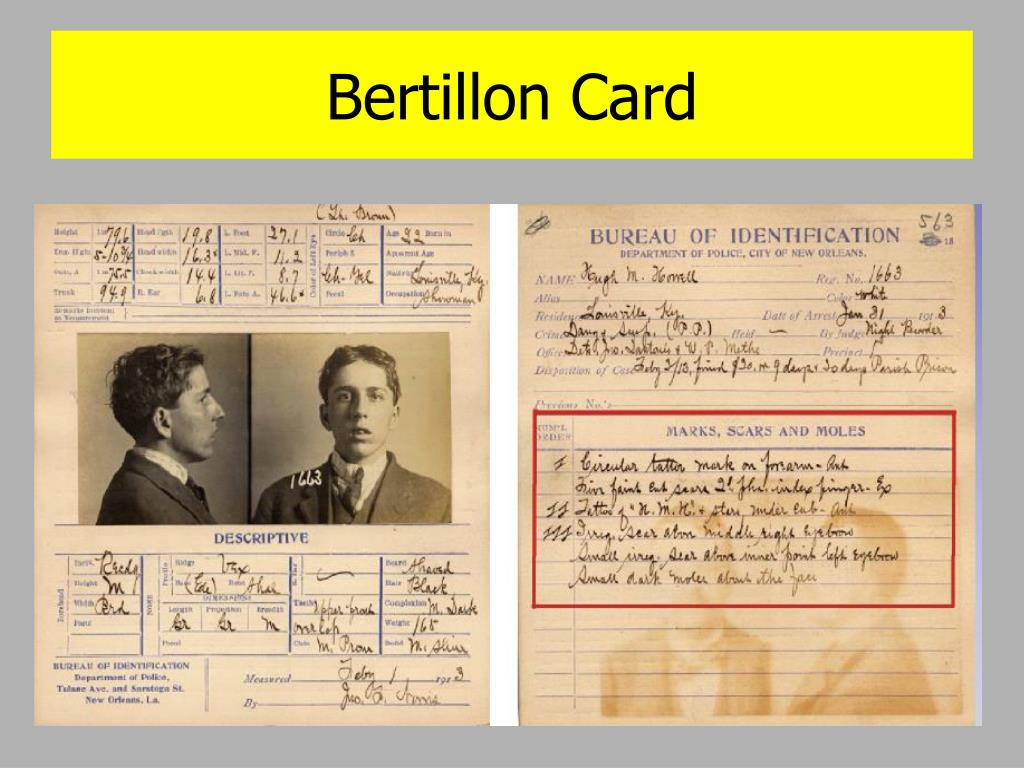 Bertillon Card