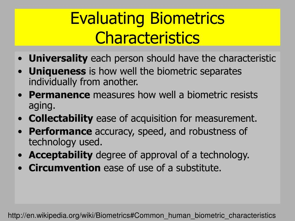 Evaluating Biometrics Characteristics
