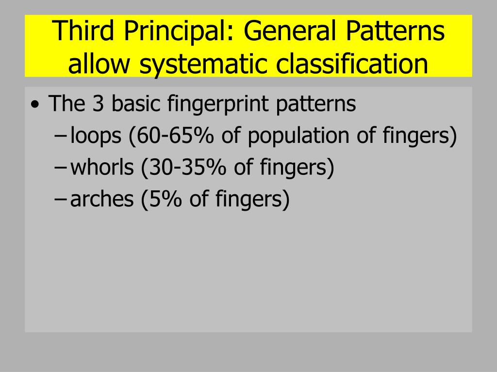 Third Principal: General Patterns allow systematic classification