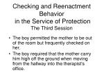 checking and reenactment behavior in the service of protection the third session