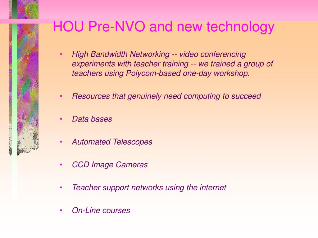 HOU Pre-NVO and new technology