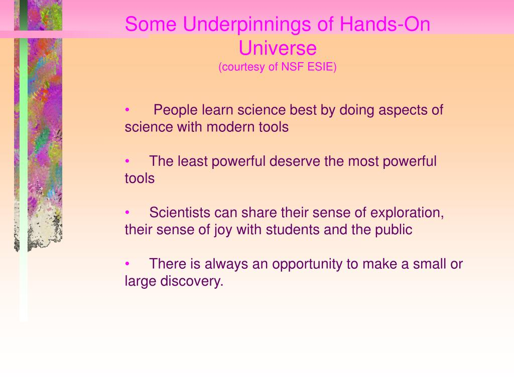 Some Underpinnings of Hands-On Universe