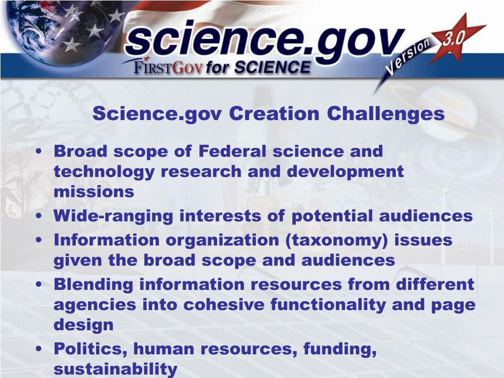 Science.gov Creation Challenges