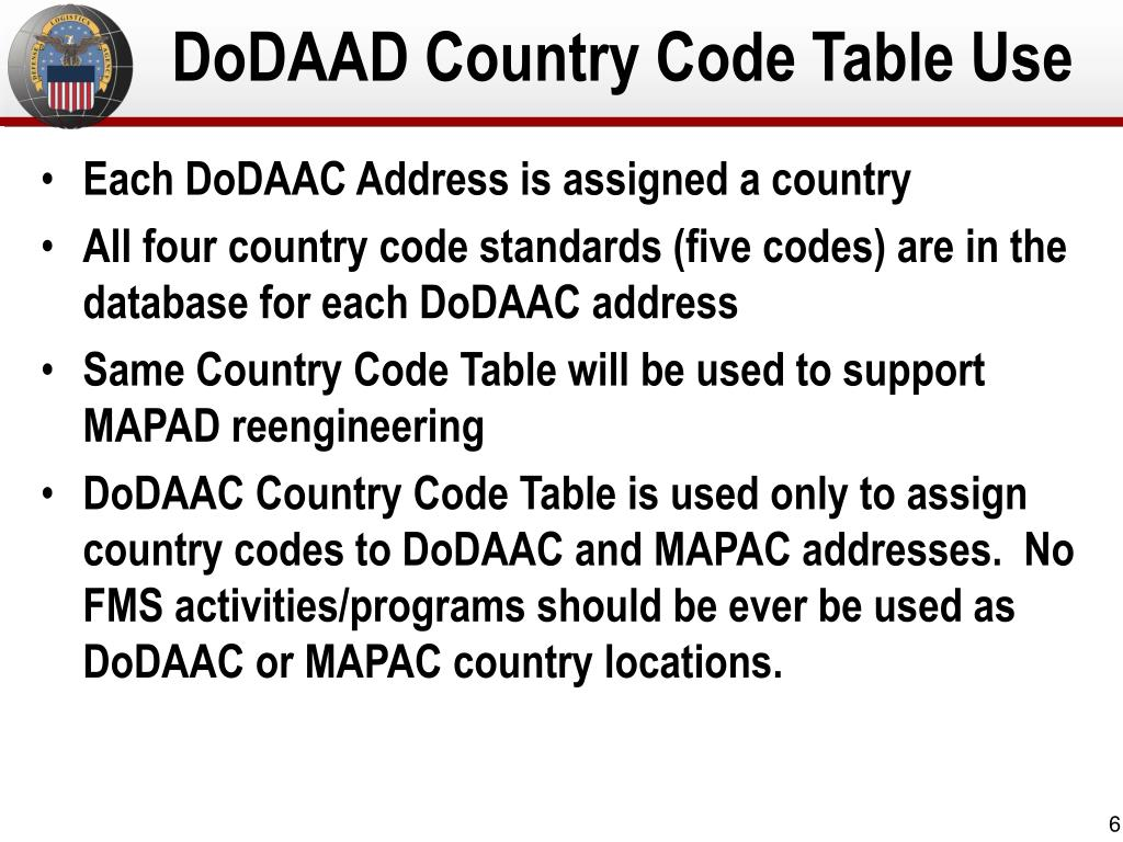 DoDAAD Country Code Table Use