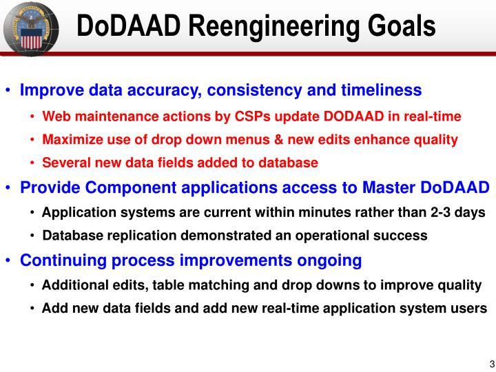 DoDAAD Reengineering Goals