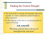 finding the central thought