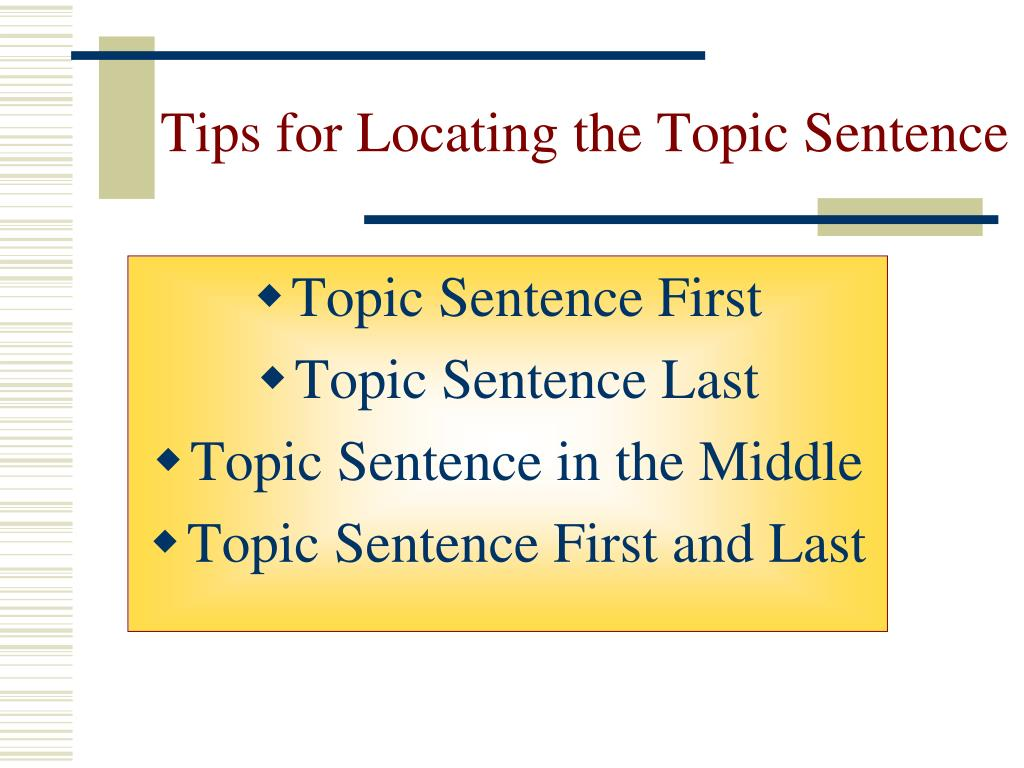 Tips for Locating the Topic Sentence