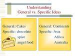 understanding general vs specific ideas