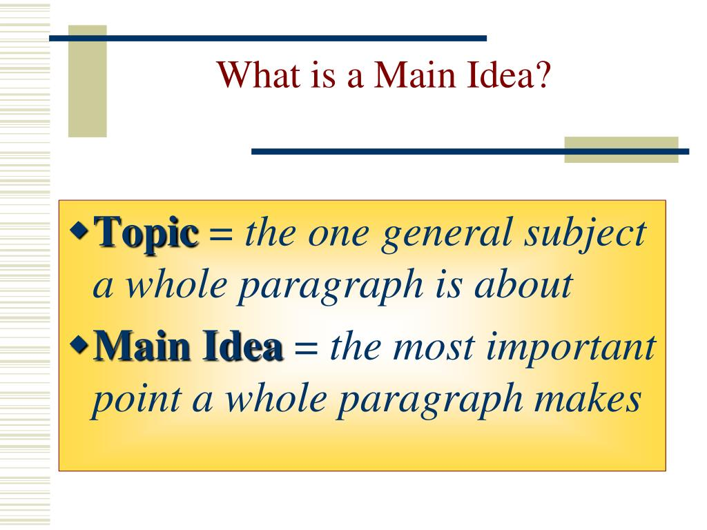 What is a Main Idea?
