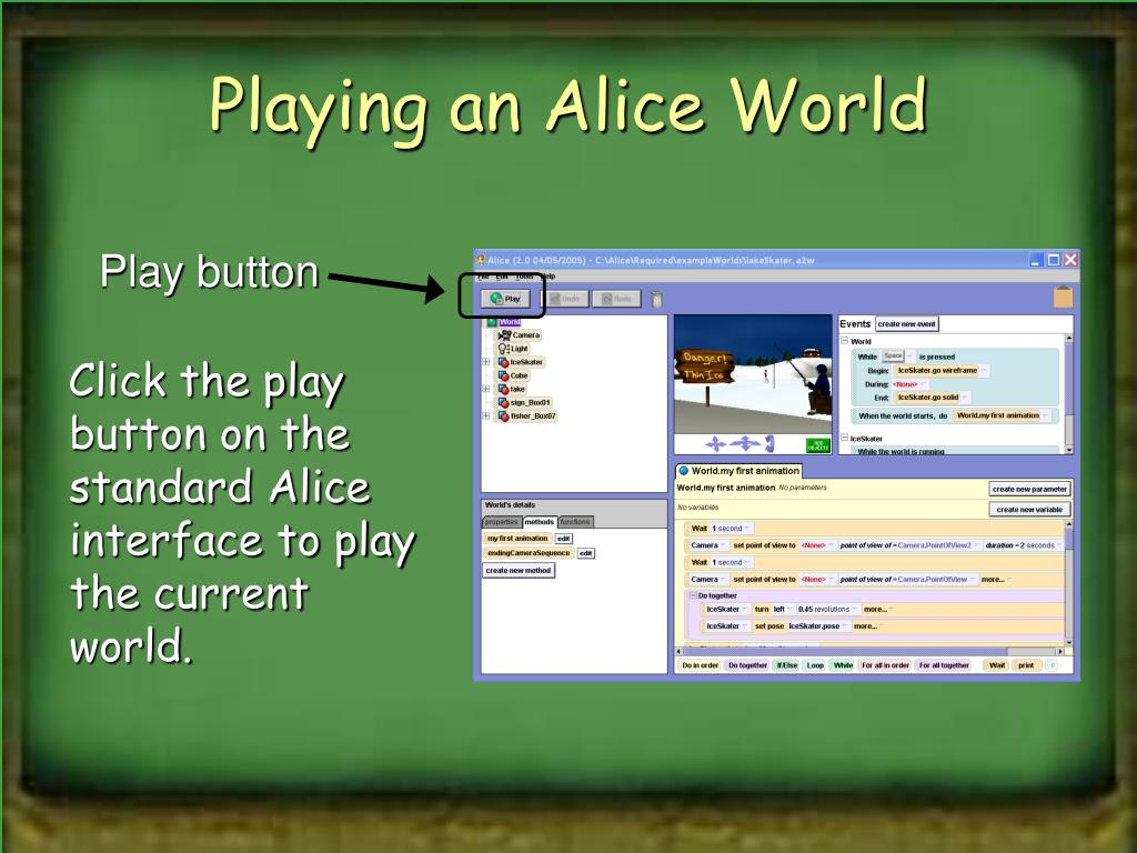 Playing an Alice World