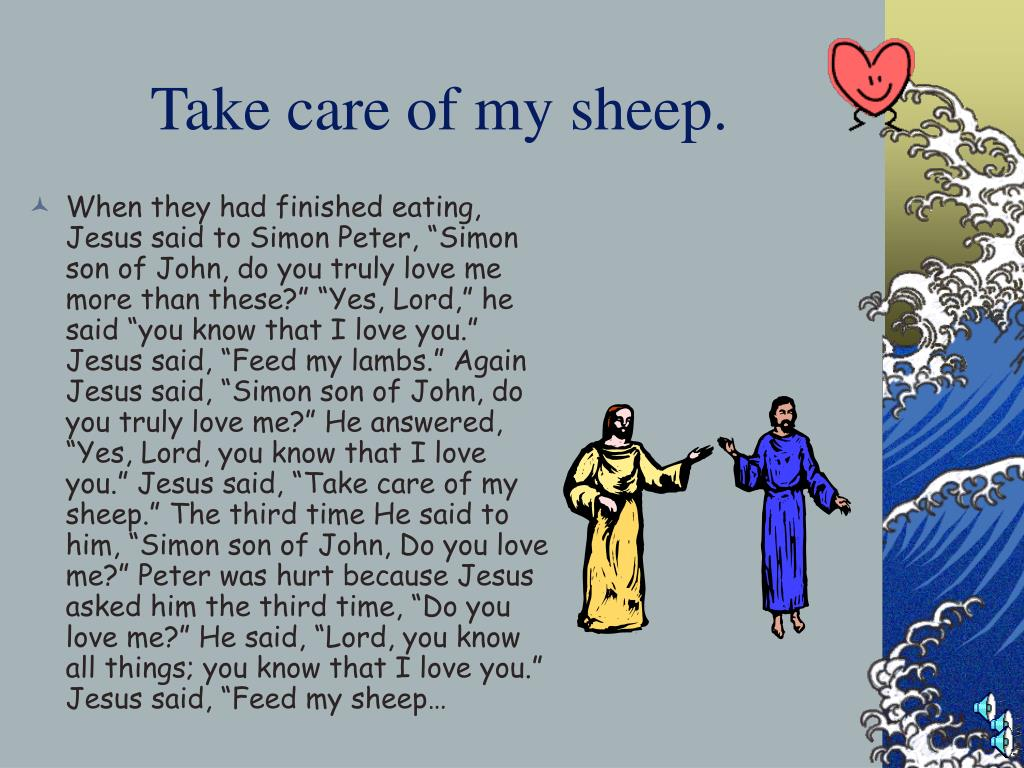 Take care of my sheep.