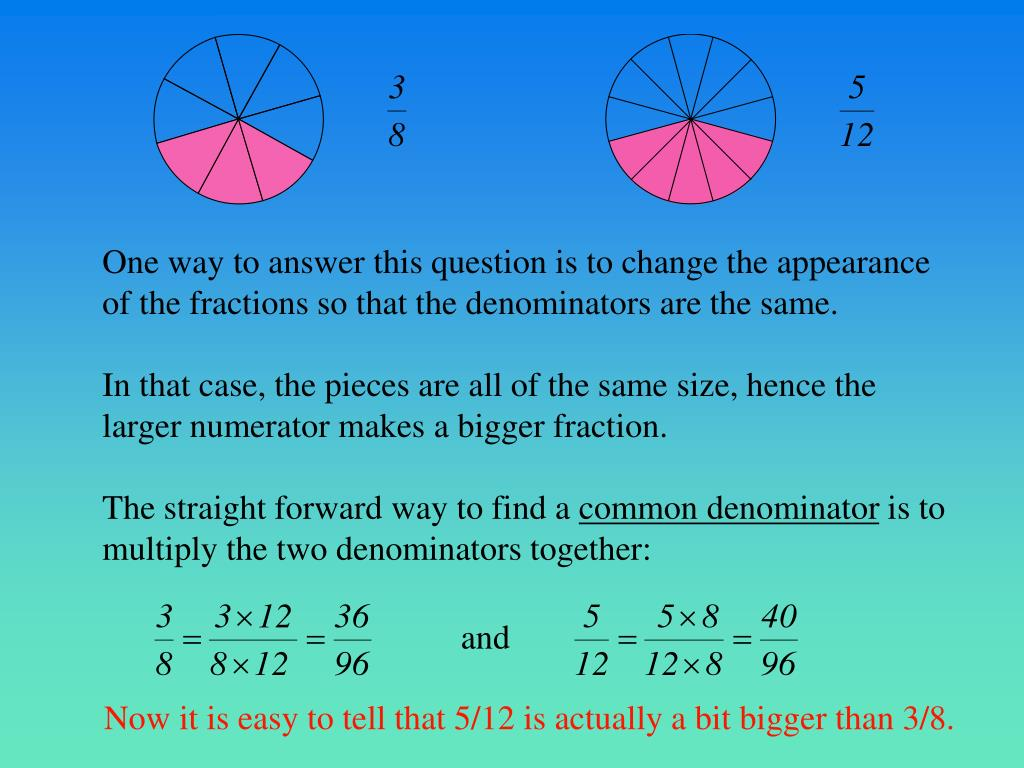 One way to answer this question is to change the appearance of the fractions so that the denominators are the same.