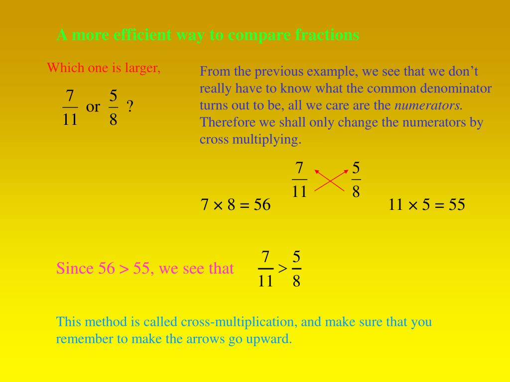 A more efficient way to compare fractions