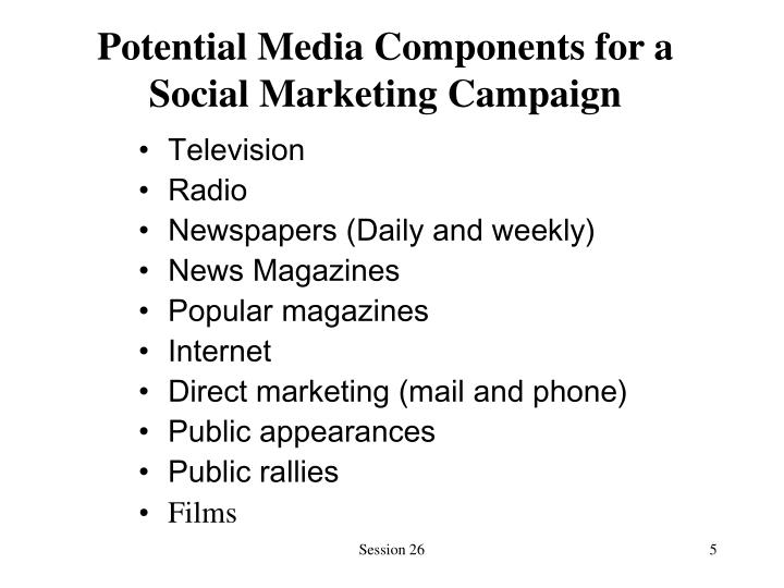 Potential Media Components for a Social Marketing Campaign