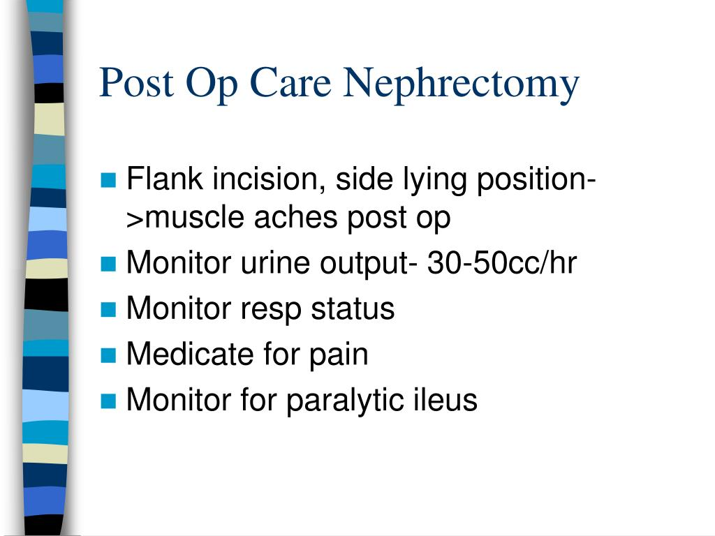Post Op Care Nephrectomy