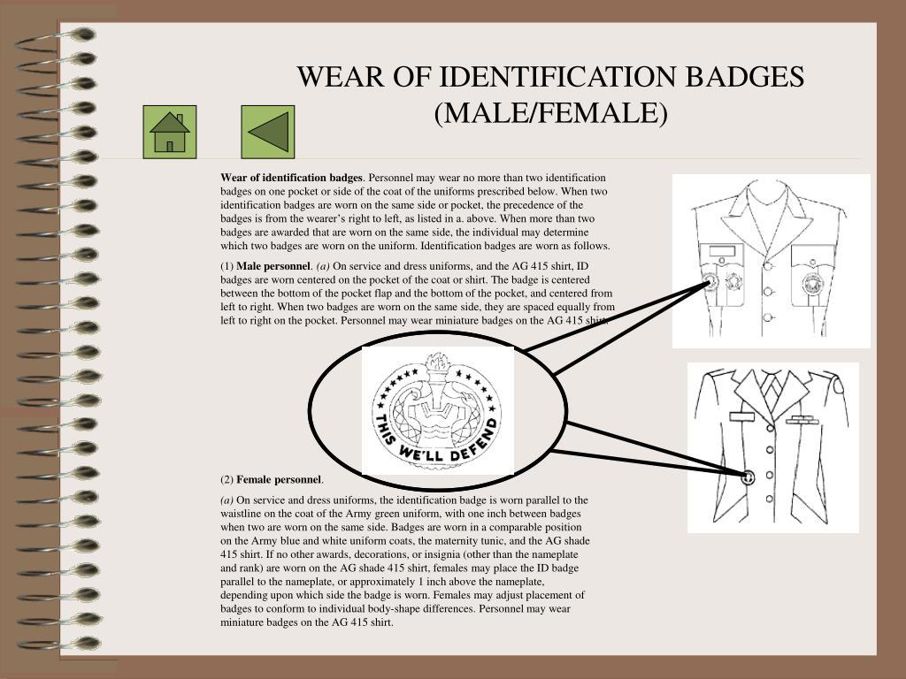 WEAR OF IDENTIFICATION BADGES (MALE/FEMALE)