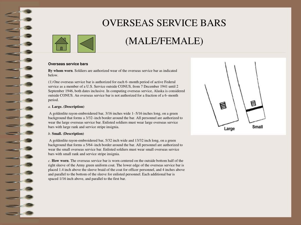 OVERSEAS SERVICE BARS