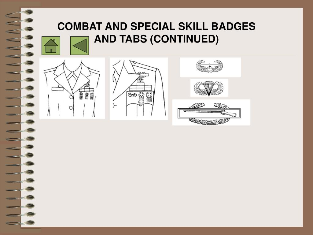 COMBAT AND SPECIAL SKILL BADGES AND TABS (CONTINUED)