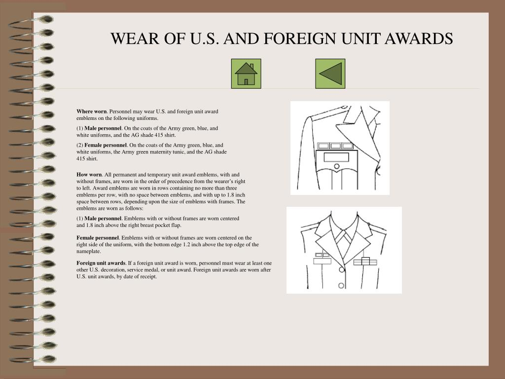 WEAR OF U.S. AND FOREIGN UNIT AWARDS