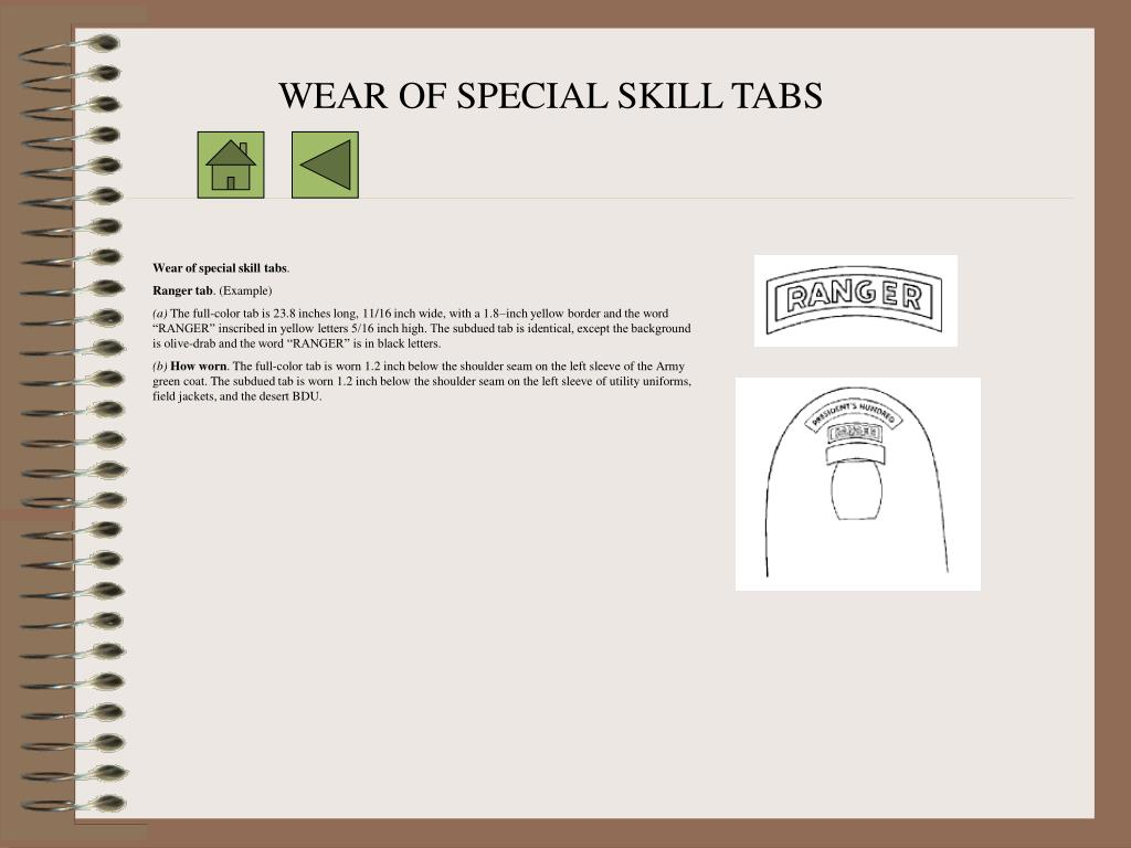 WEAR OF SPECIAL SKILL TABS