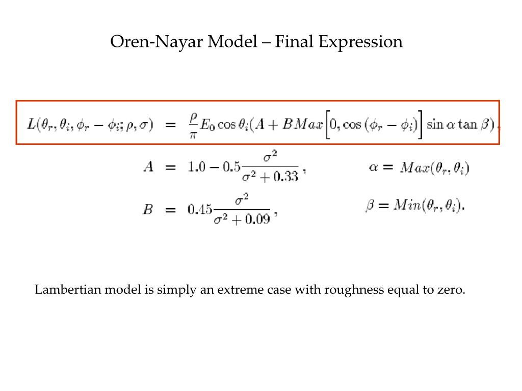 Oren-Nayar Model – Final Expression