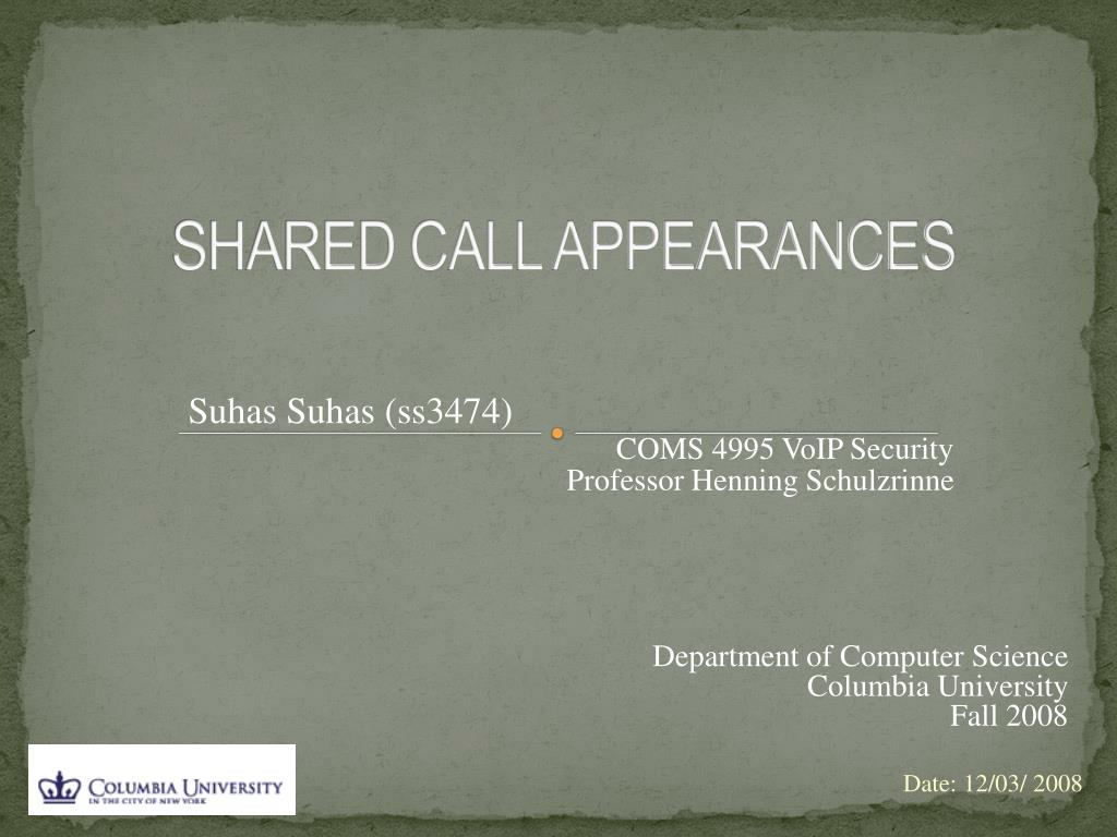 SHARED CALL APPEARANCES
