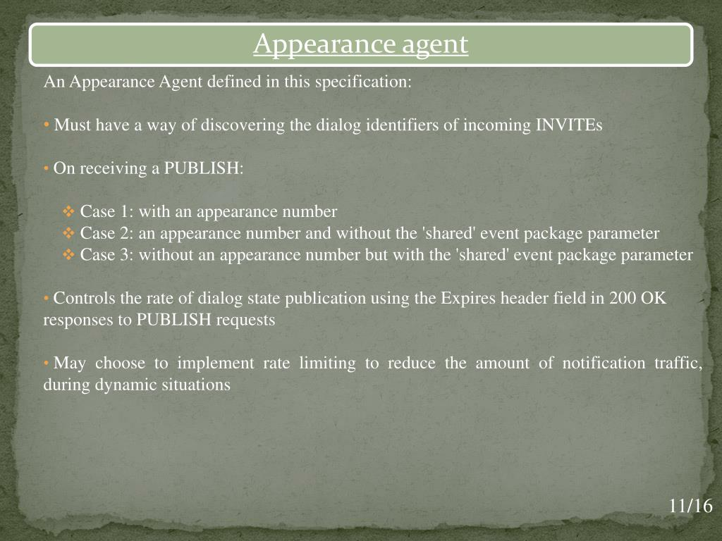 An Appearance Agent defined in this specification: