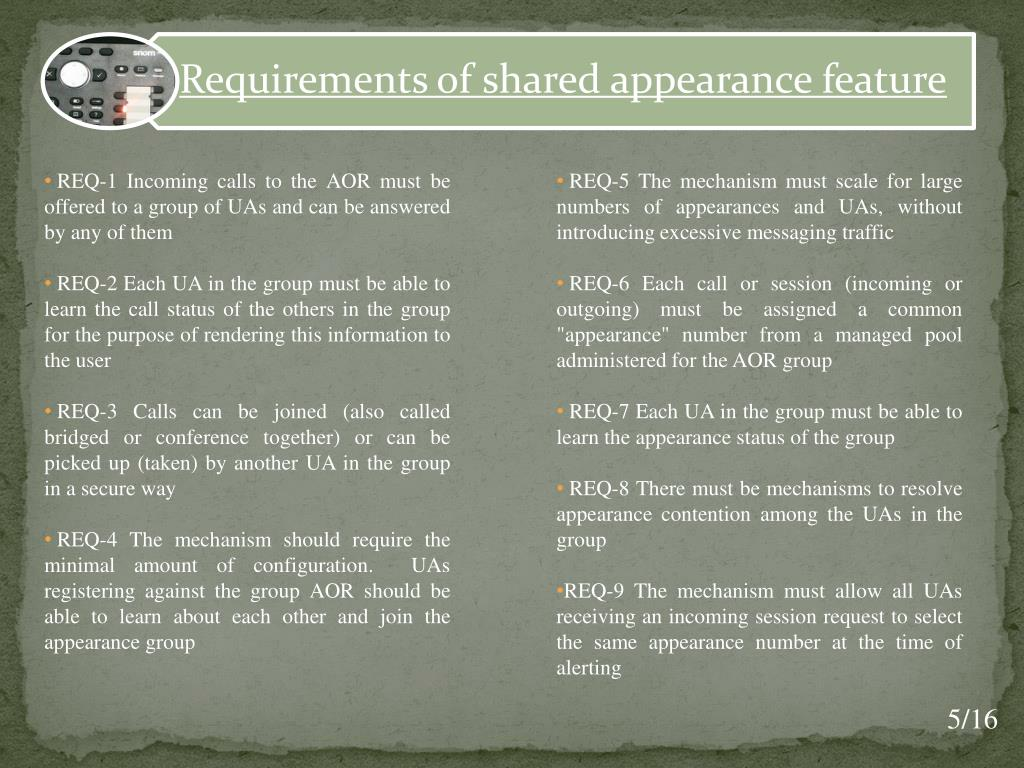 REQ-5 The mechanism must scale for large numbers of appearances and UAs, without introducing excessive messaging traffic