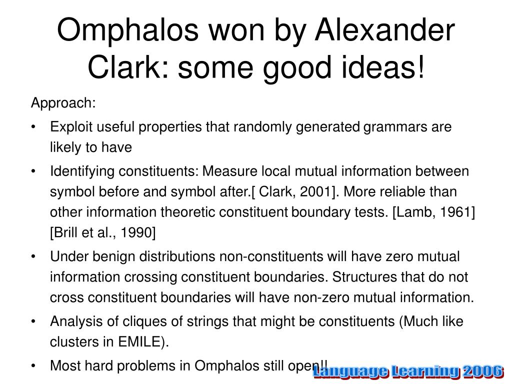Omphalos won by Alexander Clark: some good ideas!