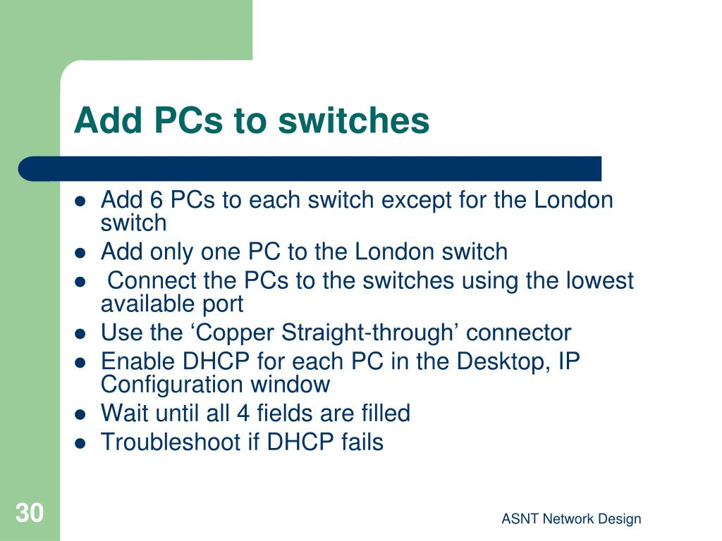 Add PCs to switches
