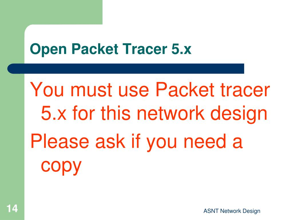 Open Packet Tracer 5.x