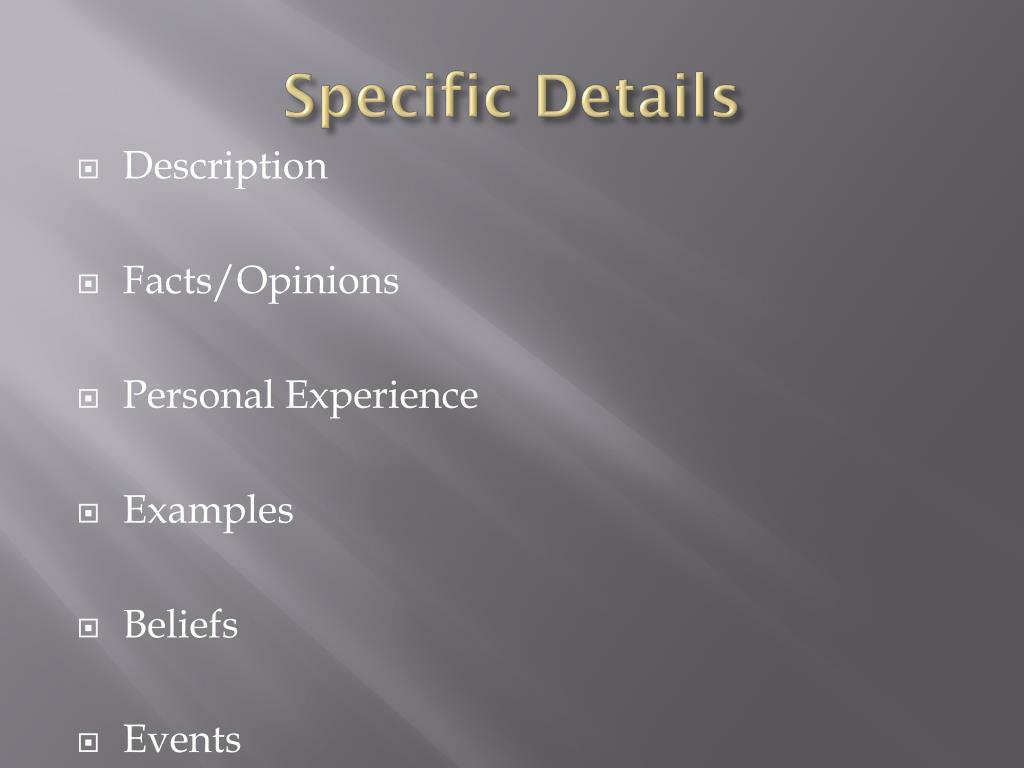 Specific Details