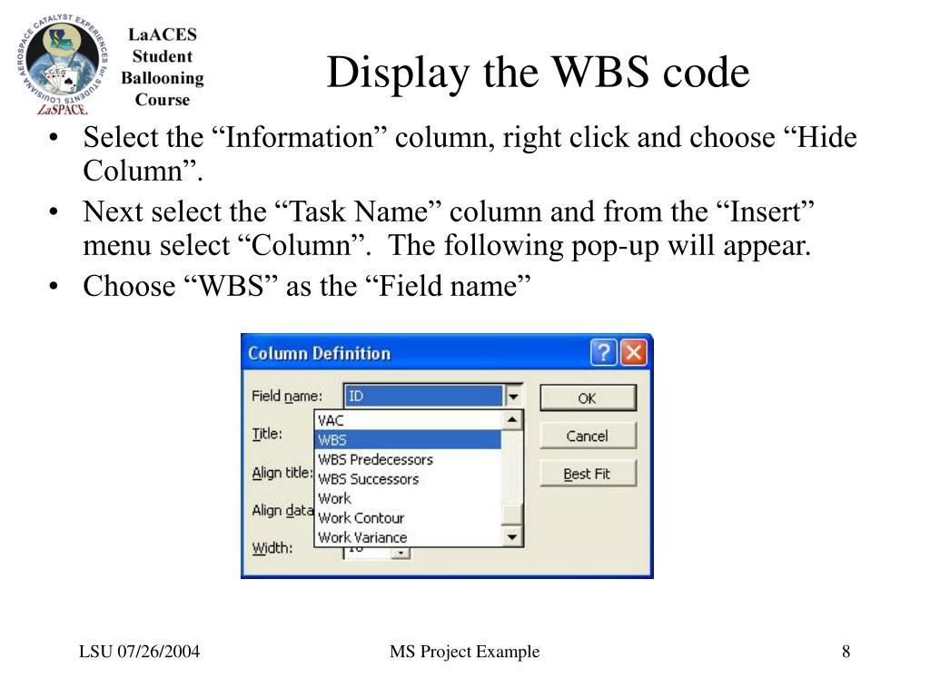 Display the WBS code