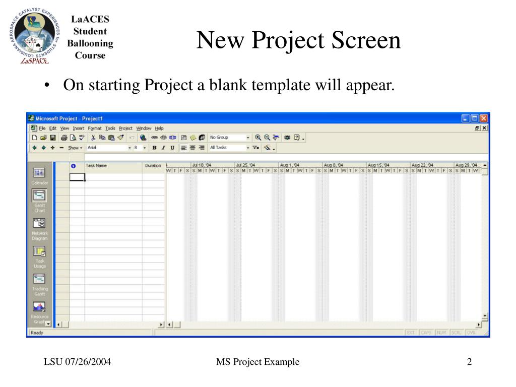 New Project Screen