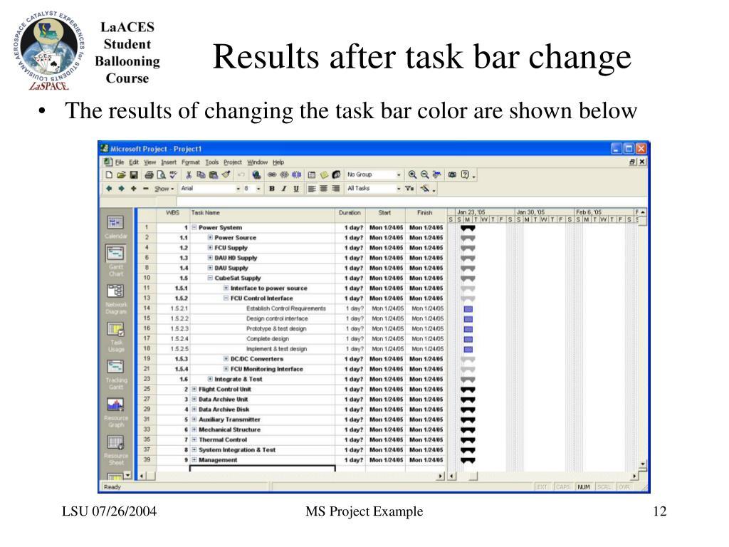 Results after task bar change