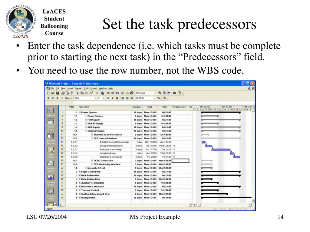 Set the task predecessors
