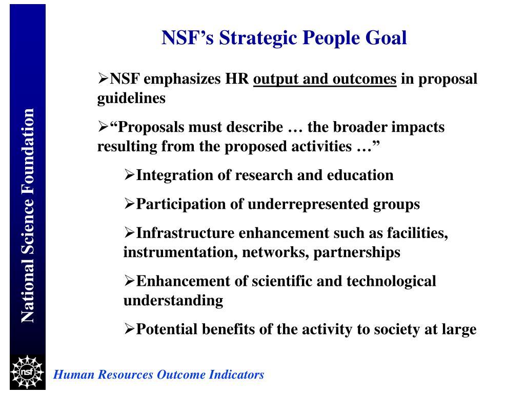 NSF's Strategic People Goal