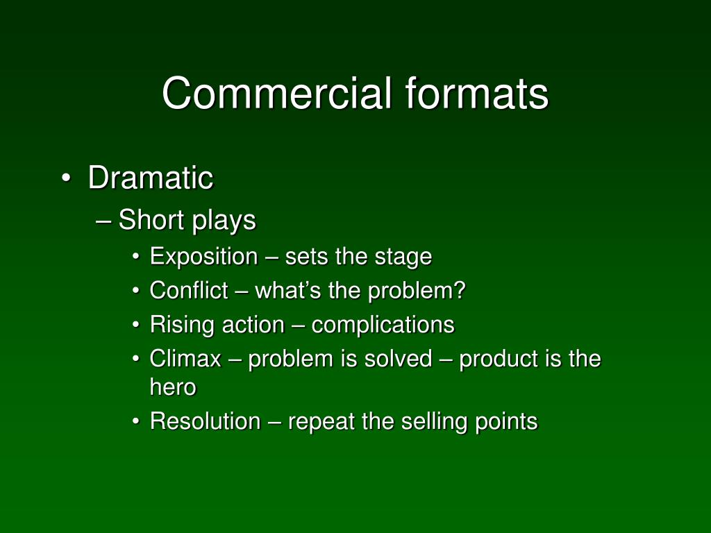 Commercial formats