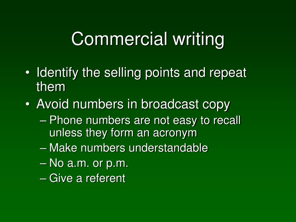 Commercial writing